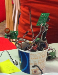 Prototype of AQE in ice cup casing at Citizen Cyberscience Summit UCL 2012